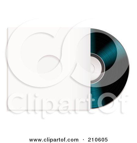 Royalty-Free (RF) Clipart Illustration of a Black Cd Partially In A Sleeve by michaeltravers