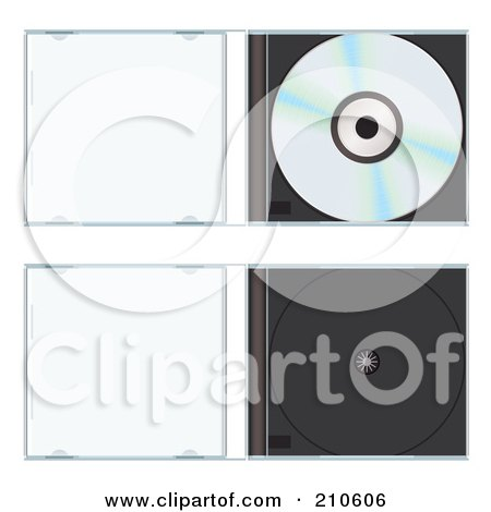 Royalty-Free (RF) Clipart Illustration of a Digital Collage Of A Shiny Cd In An Open Hard Case And An Empty Case by michaeltravers