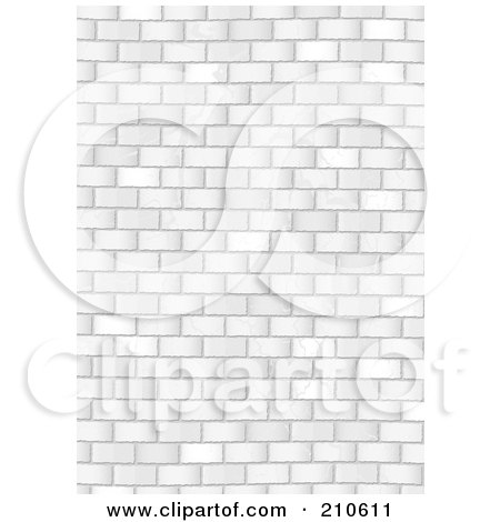 Royalty-Free (RF) Clipart Illustration of a Grungy White Brick Wall Background by michaeltravers