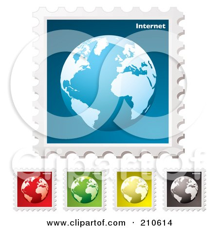 Royalty-Free (RF) Clipart Illustration of a Digital Collage Of Colorful Internet Stamps by michaeltravers