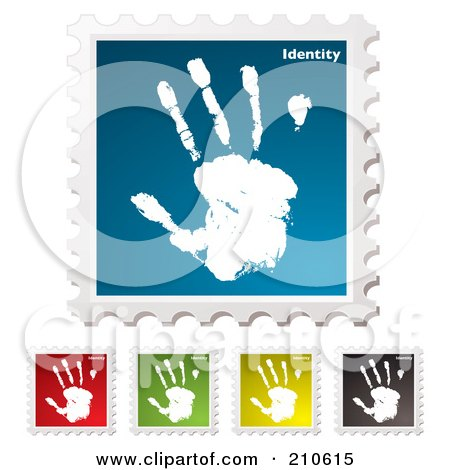 Royalty-Free (RF) Clipart Illustration of a Digital Collage Of Colorful Identity Stamps by michaeltravers