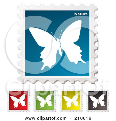 Royalty-Free (RF) Clipart Illustration of a Digital Collage Of Colorful Butterfly Nature Stamps by michaeltravers