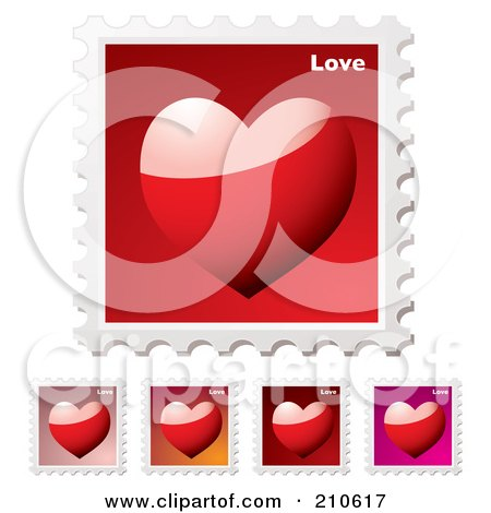 Royalty-Free (RF) Clipart Illustration of a Digital Collage Of Colorful Heart Stamps by michaeltravers