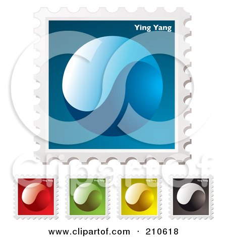 Royalty-Free (RF) Clipart Illustration of a Digital Collage Of Colorful Yin Yang Stamps by michaeltravers