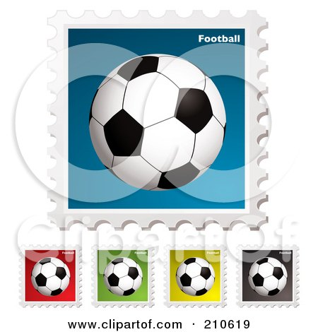 Royalty-Free (RF) Clipart Illustration of a Digital Collage Of Colorful Soccer Football Stamps by michaeltravers