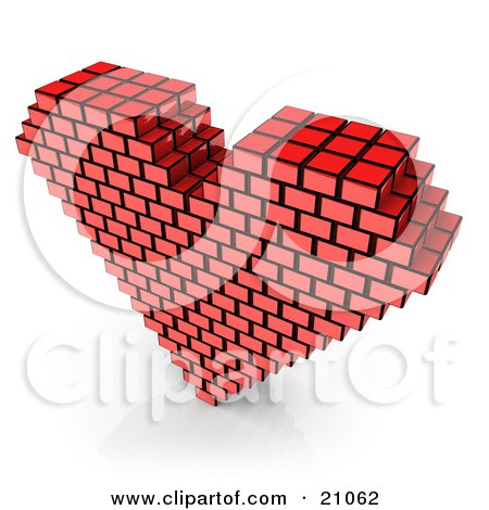 Clipart Illustration of a Red Passion Heart Made Of Cubes Over A White Background by 3poD