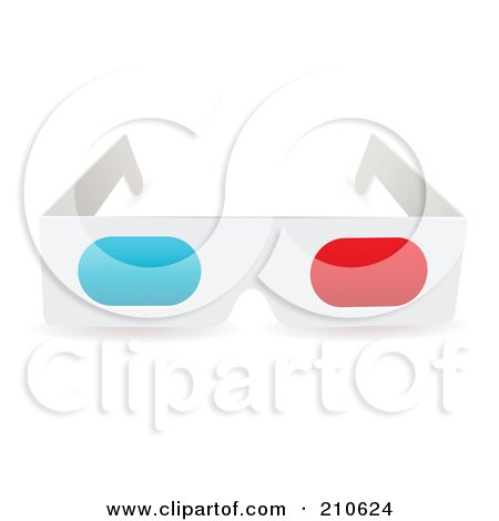 Royalty-Free (RF) Clipart Illustration of a White Pair Of Paper 3d Glasses by michaeltravers