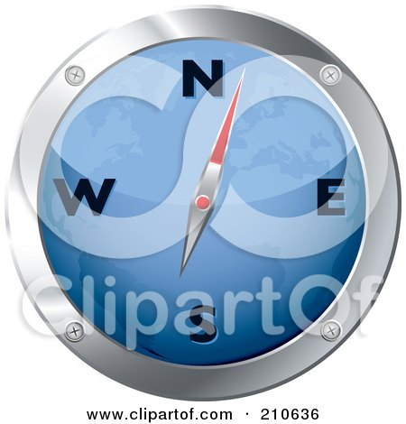 Royalty-Free (RF) Clipart Illustration of a Blue And Chrome Map Compass by michaeltravers