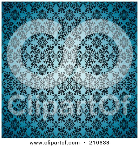 Royalty-Free (RF) Clipart Illustration of a Blue Seamless Gothic Background With A Black Floral Pattern by michaeltravers