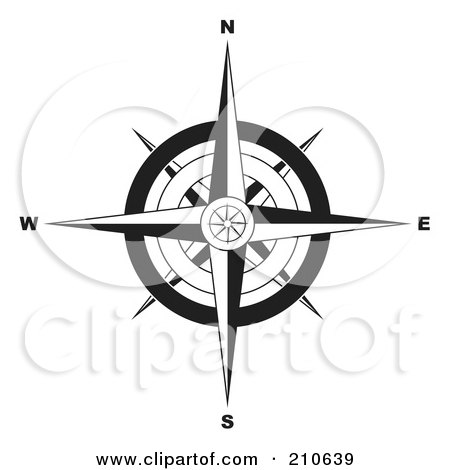 Royalty-Free (RF) Clipart Illustration of a Black And White Ornate Compass Rose by michaeltravers