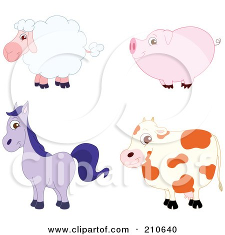 Royalty-Free (RF) Clipart Illustration of a Digital Collage Of A Cute Barnyard Sheep, Pig, Horse And Cow In Profile by yayayoyo