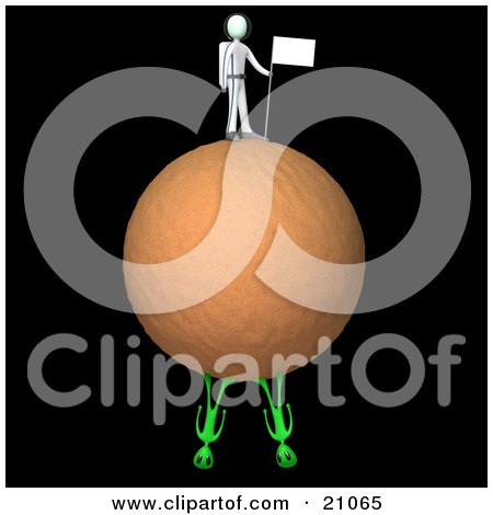 Clipart Illustration of an Astronaut Sticking A Flag In The Dirt Of A Planet, Two Aliens On The Bottom Of The Planet by 3poD