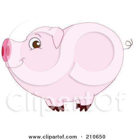 Royalty-Free (RF) Clipart Illustration of a Cute Barnyard Pig In Profile by yayayoyo