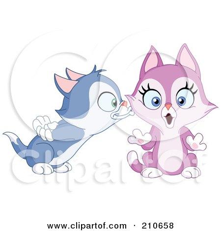 Royalty-Free (RF) Clipart Illustration of a Cute Blue Kitten Boy Kissing A Purple Kitten Girl On The Cheek by yayayoyo