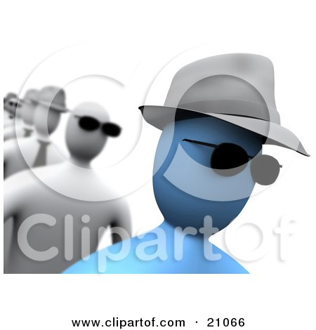 Clipart Illustration of a Blue Person Wearing Sunglasses And A Hat, Walking In A Line by 3poD