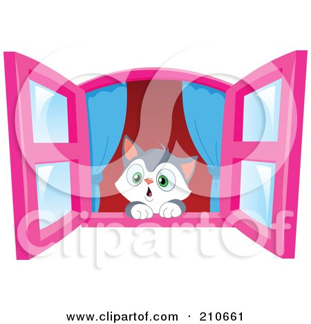 Royalty-Free (RF) Clipart Illustration of a Cute Kitten In Awe, Looking Out Through A Window by yayayoyo
