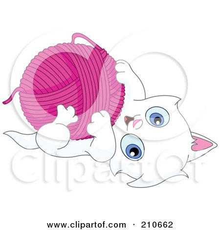 Royalty-Free (RF) Clipart Illustration of a Cute White Kitten Playing With A Ball Of Pink Yarn by yayayoyo