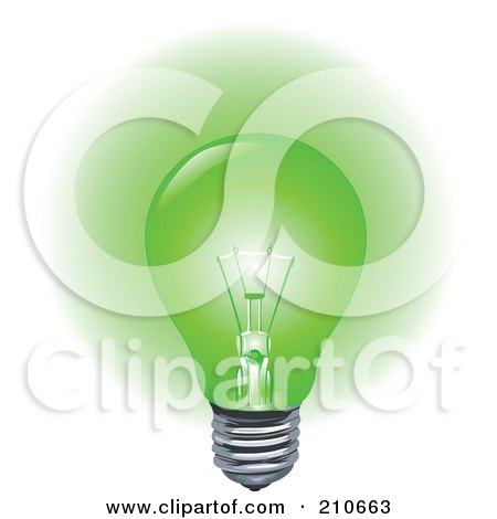 Royalty-free clipart picture of a green light bulb aglow,
