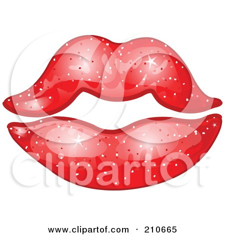 Royalty-Free (RF) Clipart Illustration of a Pair Of Sparkly Feminine Lips With Red Lipstick by yayayoyo