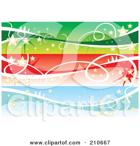 Royalty-Free (RF) Clipart Illustration of a Digital Collage Of Three Colorful Christmas Banners With Stars by MilsiArt