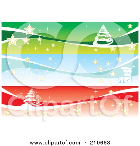 Royalty-Free (RF) Clipart Illustration of a Digital Collage Of Three Christmas Banners With Trees And Stars by MilsiArt