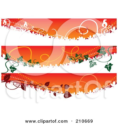Royalty-Free (RF) Clipart Illustration of a Digital Collage Of Three Autumn Banners With Vines by MilsiArt
