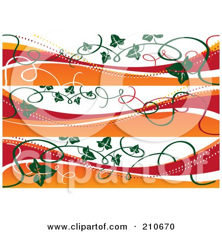 Royalty-Free (RF) Clipart Illustration of a Digital Collage Of Three Fall Banners With Vines by MilsiArt
