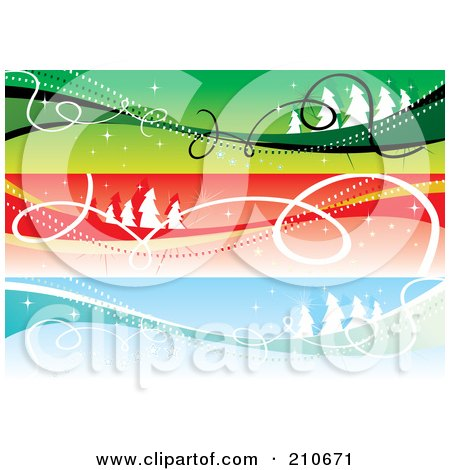 Royalty-Free (RF) Clipart Illustration of a Digital Collage Of Three Colorful Christmas Headers With Landscapes And Ribbons by MilsiArt
