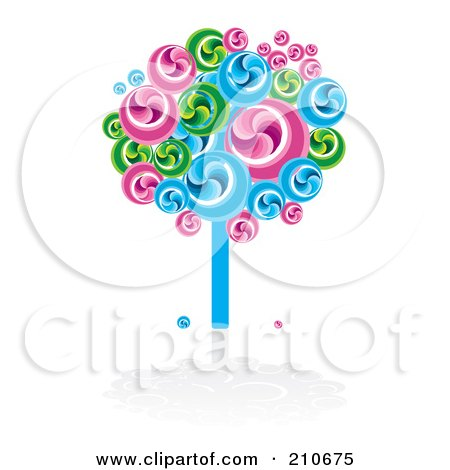Royalty-Free (RF) Clipart Illustration of a Bright Swirly Fruit Tree In Blues, Greens And Pinks by MilsiArt