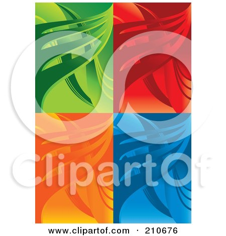 Royalty-Free (RF) Clipart Illustration of a Digital Collage Of Green, Red, Orange And Blue Wave Backgrounds by MilsiArt