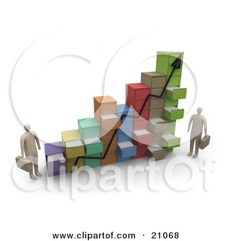 Clipart Illustration of Two Businessmen Standing By A Chart Made Of Filing Cabinets With Random Open Drawers by 3poD