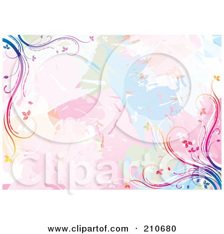 Royalty-Free (RF) Clipart Illustration of a Pastel Watercolor Background With Rainbow Vine Corners by MilsiArt
