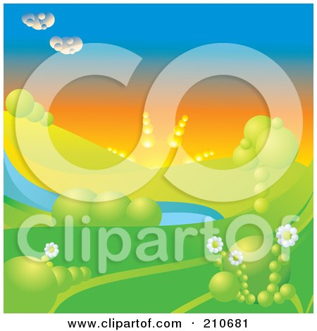 Royalty-Free (RF) Clipart Illustration of a 3d Afternoon Sun Setting Over A Hilly Landscape With Trees, Flowers And A Pond by MilsiArt