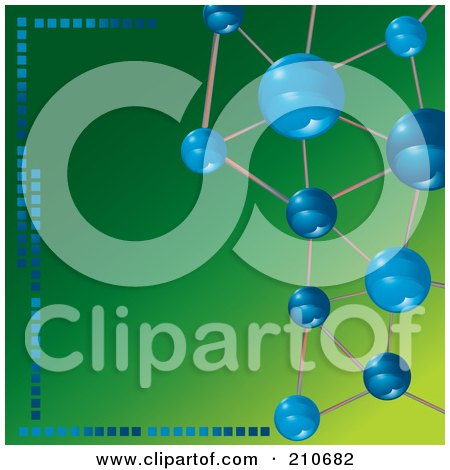 Royalty-Free (RF) Clipart Illustration of Blue Molecules Framing A Green Background by MilsiArt