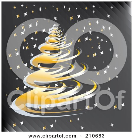 Royalty-Free (RF) Clipart Illustration of a Golden Spiral Christmas Tree On A Gray Starry Background by MilsiArt