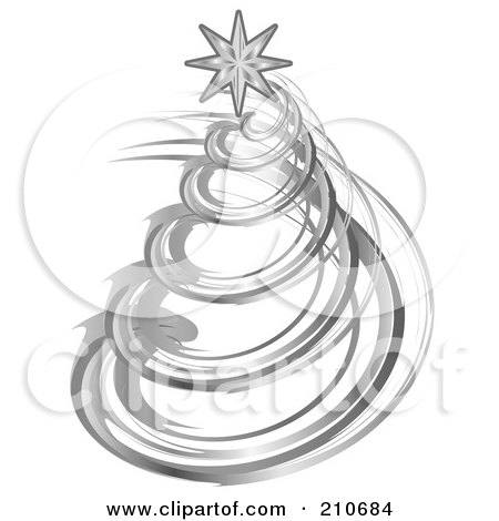 Royalty-Free (RF) Clipart Illustration of a Silver Spiral Christmas Tree With A Star On Top by MilsiArt