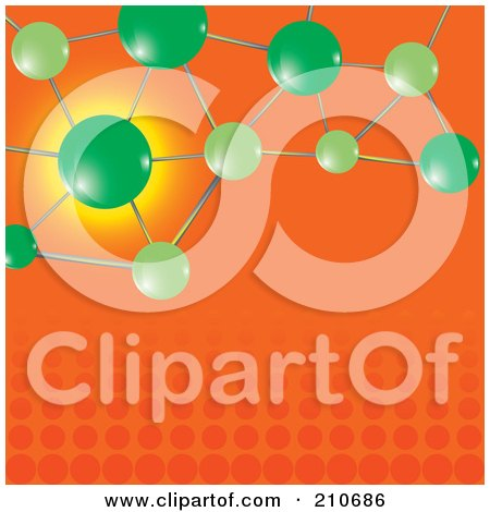 Royalty-Free (RF) Clipart Illustration of Green Molecules Over An Orange Halftone Background by MilsiArt