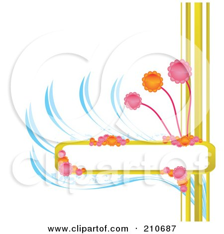 Blank Box For Text With Colorful Flowers And Blue Swooshes On White Posters, Art Prints