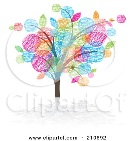 Royalty-Free (RF) Clipart Illustration of a Tree With Colorful Sketched Leaves by MilsiArt