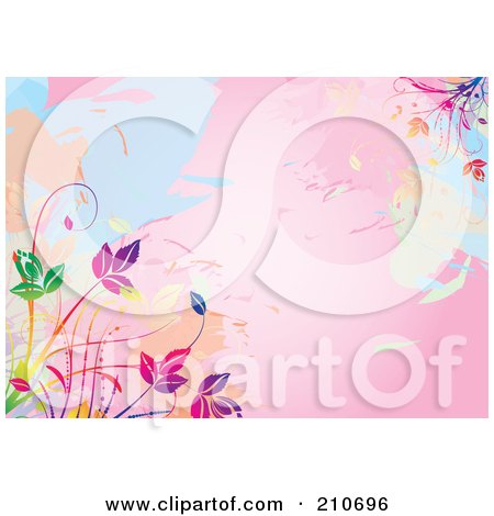 Royalty-Free (RF) Clipart Illustration of a Pink Watercolor Background With Colorful Vines by MilsiArt