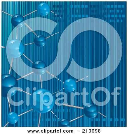 Royalty-Free (RF) Clipart Illustration of a Blue Molecule Background With Vertical Stripes by MilsiArt