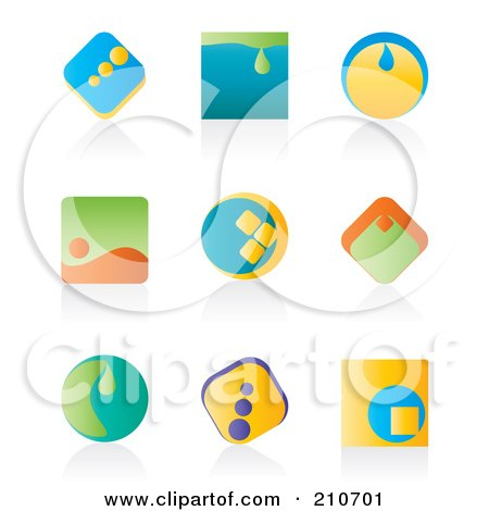 Royalty-Free (RF) Clipart Illustration of a Digital Collage Of Nine Colorful Icon Or Logo Designs With Shadows by MilsiArt