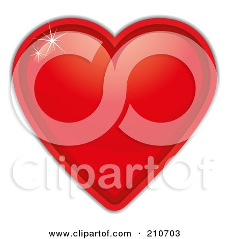 Royalty-Free (RF) Clipart Illustration of a Sparkle Shining Off Of A Red Heart by MilsiArt