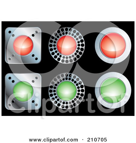 Royalty-Free (RF) Clipart Illustration of a Digital Collage Of Red, Green And Chrome Buttons On Black by MilsiArt