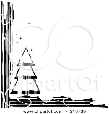 Royalty-Free (RF) Clipart Illustration of a Grungy Black And White Sparkly Christmas Tree Corner Design by MilsiArt