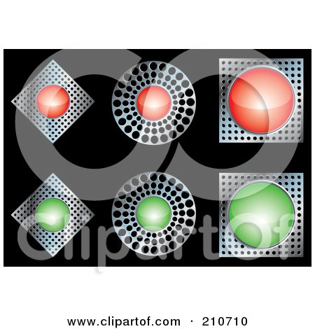 Royalty-Free (RF) Clipart Illustration of a Digital Collage Of Red, Chrome And Green Diamond, Circle And Square Buttons by MilsiArt