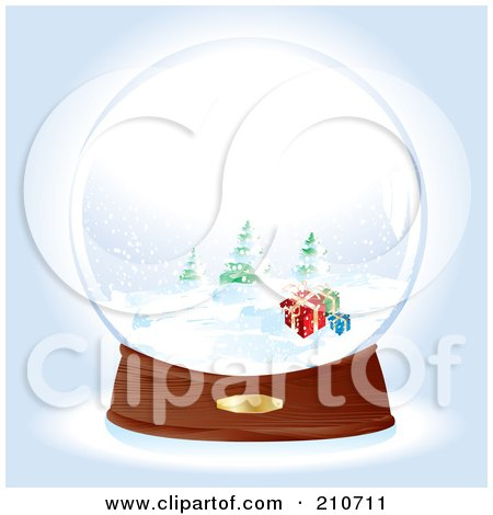 Royalty-Free (RF) Clipart Illustration of a Snow Globe With Presents Near Evergreens by MilsiArt