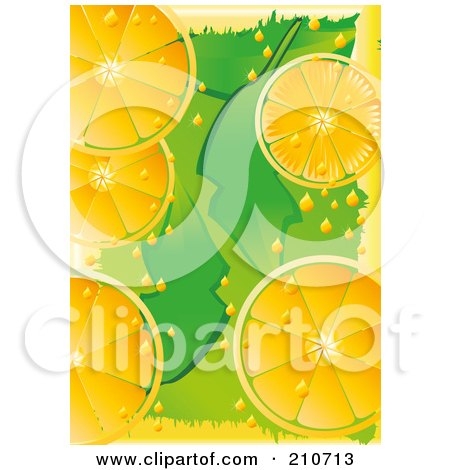 Royalty-Free (RF) Clipart Illustration of a Citrus Background Of Orange Slices Over Green by MilsiArt