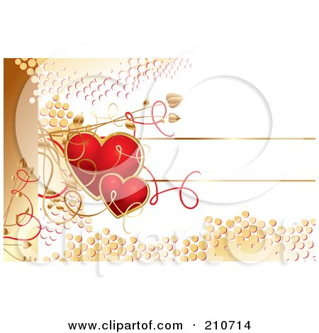 Royalty-Free (RF) Clipart Illustration of Red Hearts And Golden Dots Over White With Vines by MilsiArt