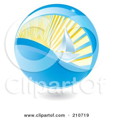 Royalty-Free (RF) Clipart Illustration of a Summer Time Sphere With A Sailboat by MilsiArt